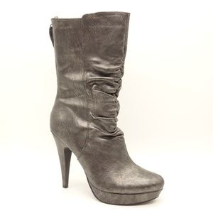 GUESS Platform Heeled Boots Metallic Gray Leather